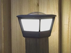 """COACH 4x4 Solar Post Cap Light. Mounts on a standard 4x4 finished wood post. Will work on PVC, aluminum and synthetic fence posts which are 4""""x 4"""""""